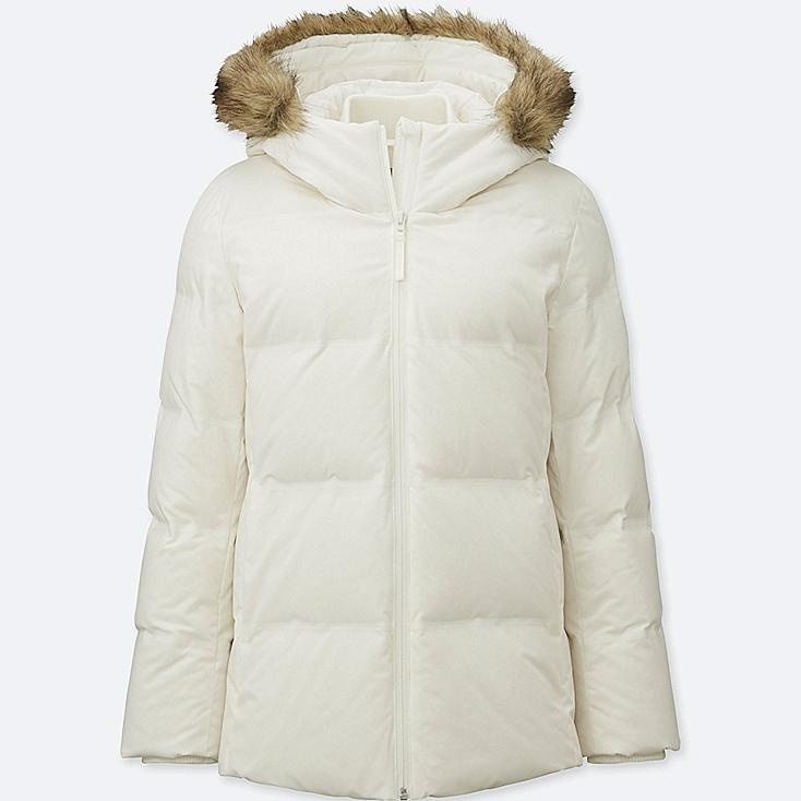 WOMEN SEAMLESS DOWN JACKET, OFF WHITE, large