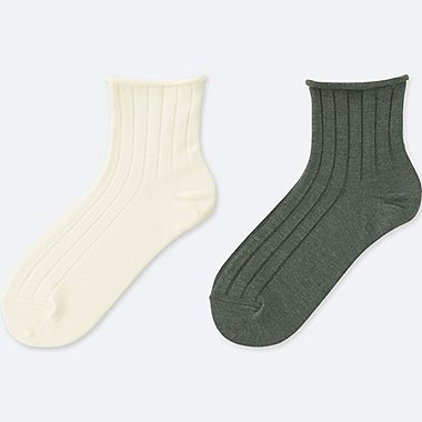 WOMEN TOPROLL HEATTECH SOCKS (2 PAIRS), OFF WHITE, medium