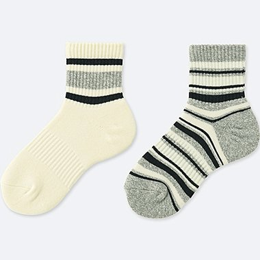 WOMEN CREW LINE  HEATTECH SOCKS (2 PAIRS), OFF WHITE, medium