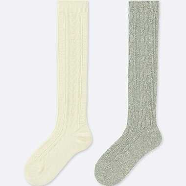 WOMEN HEATTECH KNEE HIGH SOCKS (CABLE)