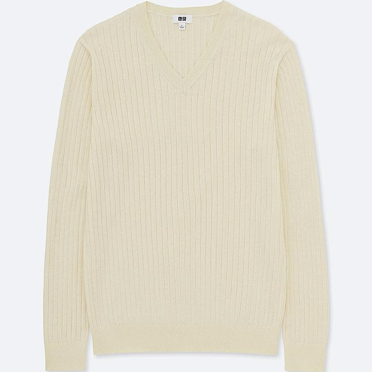 PULL COTON CACHEMIRE COL V HOMME