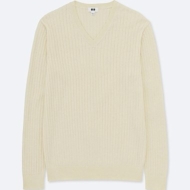 MEN COTTON CASHMERE V-NECK LONG-SLEEVE SWEATER, OFF WHITE, medium