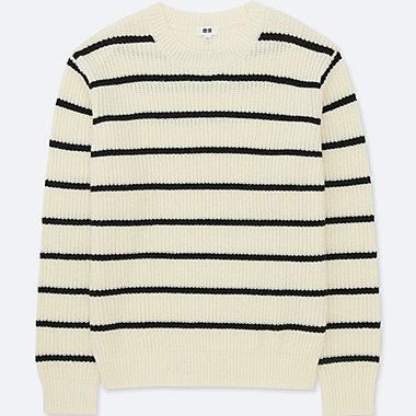MEN RIBBED STRIPED CREW NECK LONG-SLEEVE SWEATER, OFF WHITE, medium