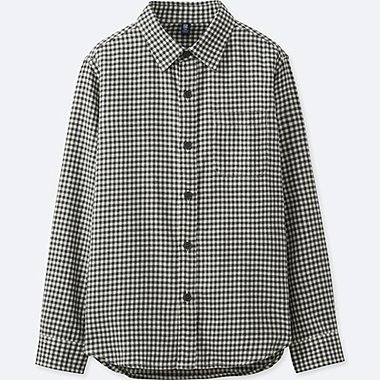 BOYS FLANNEL CHECK LONG-SLEEVE SHIRT, OFF WHITE, medium