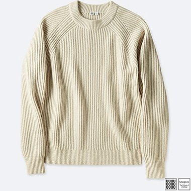 MEN UNIQLO U LAMBSWOOL BLENDED CREW NECK SWEATER