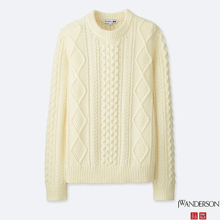 MEN JWA CABLE CREWNECK LONG-SLEEVE SWEATER, OFF WHITE, large