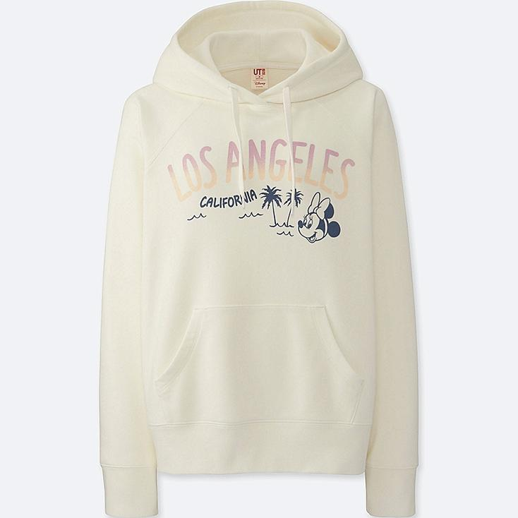 WOMEN MICKEY TRAVELS HOODIE, OFF WHITE, large