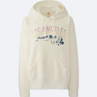 WOMEN MICKEY TRAVELS HOODIE, OFF WHITE, medium