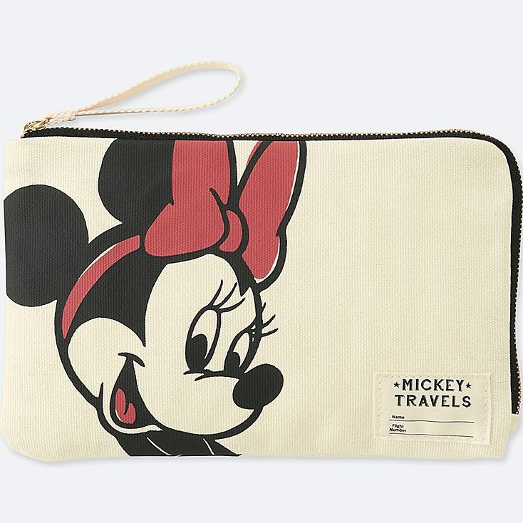 MICKEY TRAVELS POUCH, OFF WHITE, large