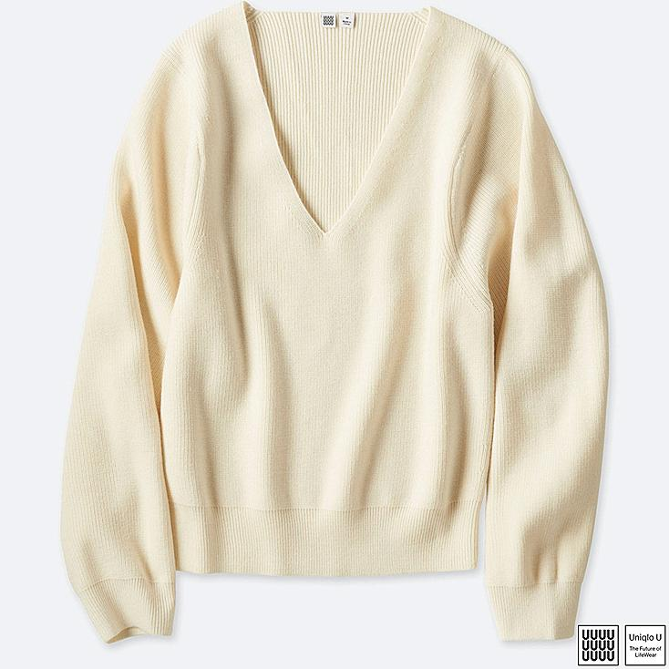 WOMEN UNIQLO U MERINO BLEND V NECK SWEATER