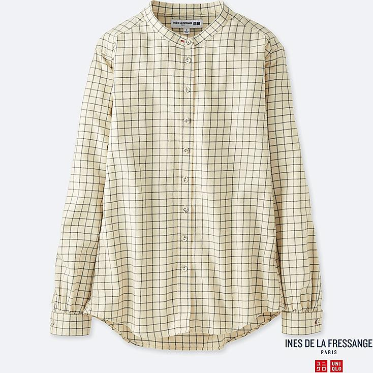 WOMEN INES FLANNEL CHECK STAND COLLAR LONG SLEEVE SHIRT