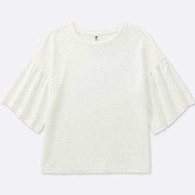 GIRLS FLARE HALF-SLEEVE T-SHIRTS, OFF WHITE, medium