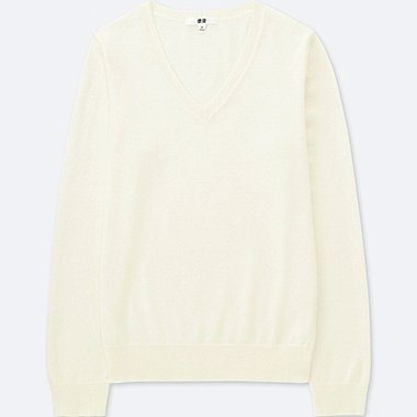 PULL COTON CACHEMIRE COL V FEMME