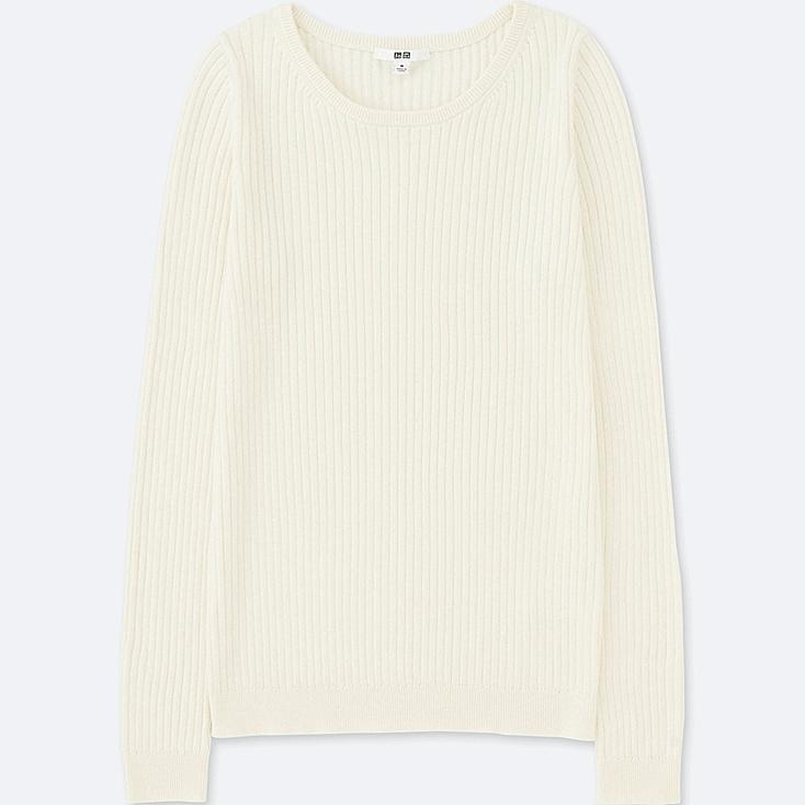 WOMEN COTTON CASHMERE RIBBED SWEATER, OFF WHITE, large