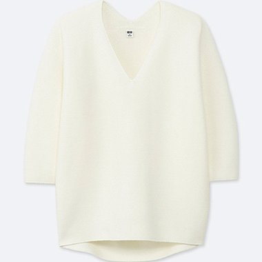 WOMEN 3D COCOON SILHOUETTE 3/4 SLEEVE SWEATER, OFF WHITE, medium