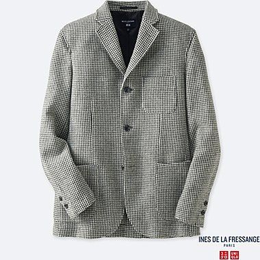 MEN INES WOOL BLENDED SHIRTS JACKET