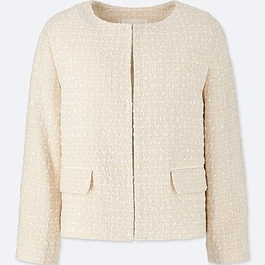 WOMEN TWEED COLLARLESS JACKET