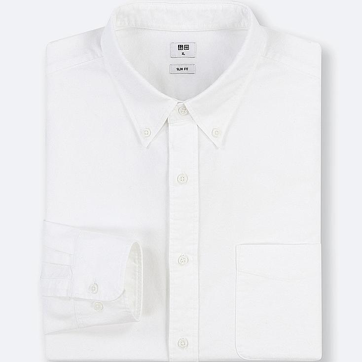MEN OXFORD SLIM-FIT LONG-SLEEVE SHIRT, OFF WHITE, large