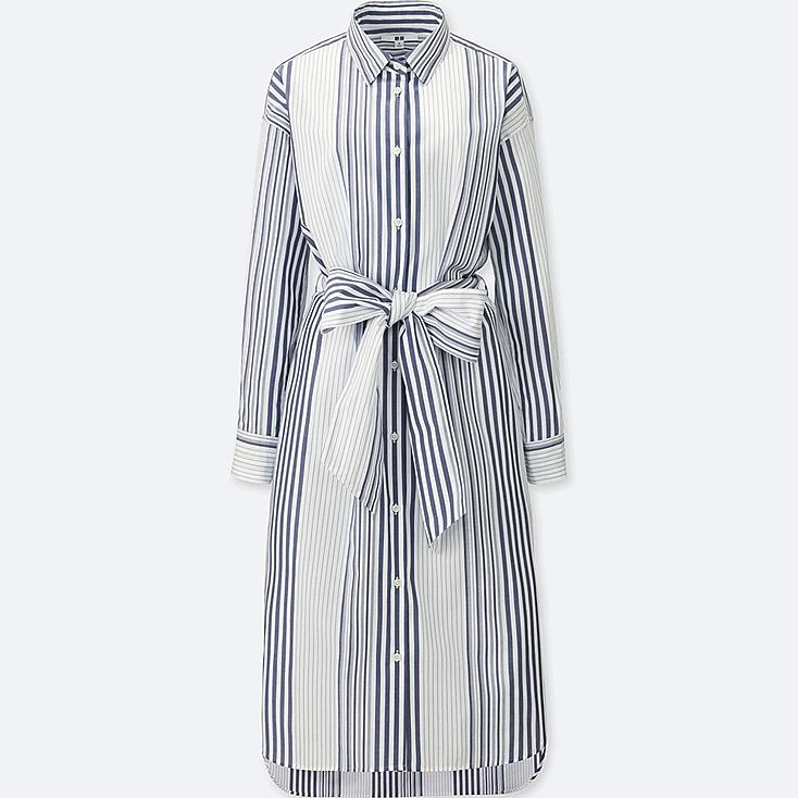 WOMEN COTTON STRIPED LONG SLEEVE SHIRT DRESS