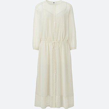 WOMEN SOFT WOVEN GATHERED 3/4 SLEEVE DRESS, OFF WHITE, medium