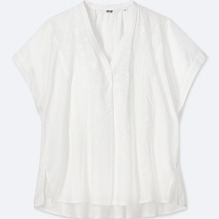 WOMEN COTTON EMBROIDERED SHORT-SLEEVE BLOUSE, OFF WHITE, large