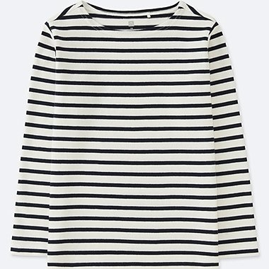 KIDS STRIPED BOAT NECK LONG-SLEEVE T-SHIRT, OFF WHITE, medium