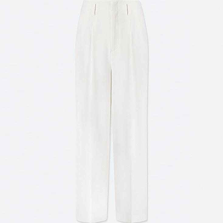 WOMEN DRAPE WIDE-LEG PANTS, OFF WHITE, large