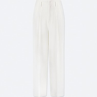 WOMEN DRAPE WIDE LEG TROUSERS
