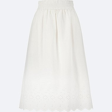 WOMEN High Waist Cotton Lawn Eyelet Long Skirt