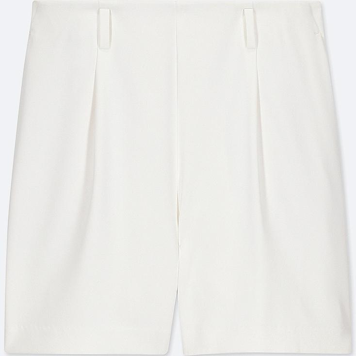 WOMEN DRAPE SHORTS, OFF WHITE, large