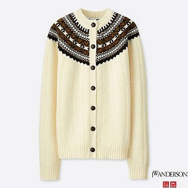 WOMEN JWA FAIR ISLE CREWNECK CARDIGAN, OFF WHITE, medium