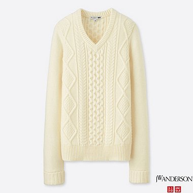 WOMEN J.W.ANDERSON CABLE V-NECK SWEATER