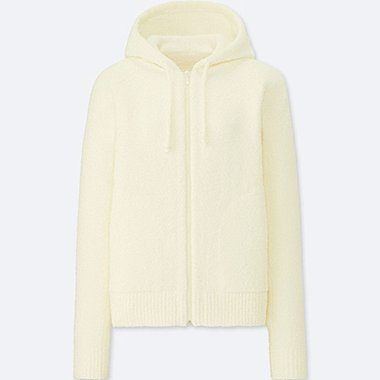 WOMEN FLUFFY YARN LOUNGE LONG SLEEVE HOODIE, OFF WHITE, medium
