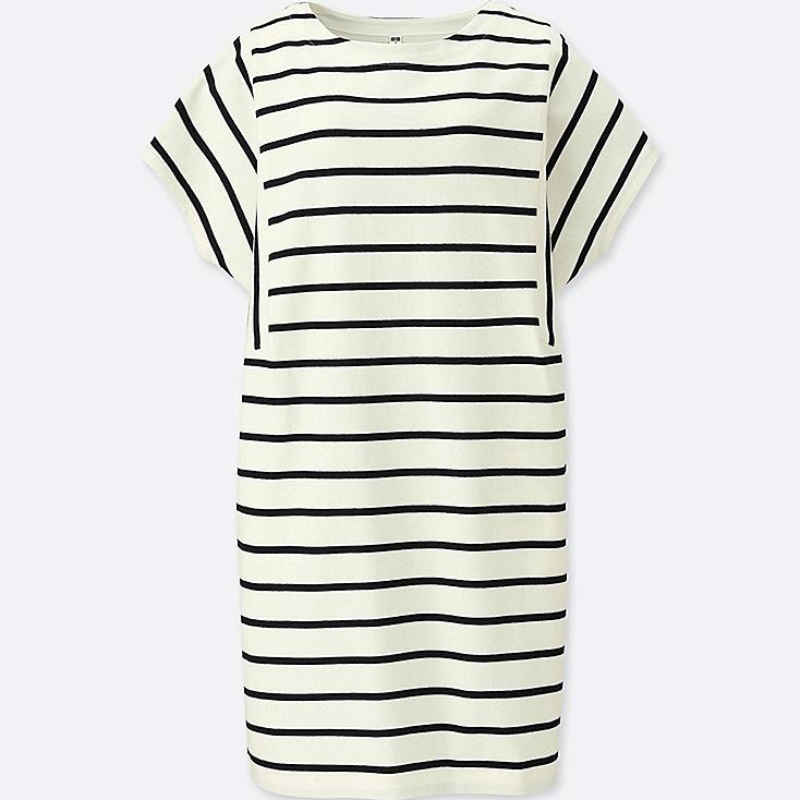 WOMEN COTTON STRIPED SHORT-SLEEVE DRESS, OFF WHITE, large