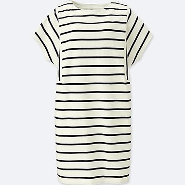 WOMEN COTTON STRIPED SHORT-SLEEVE DRESS, OFF WHITE, medium