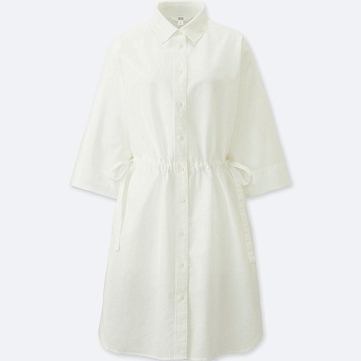WOMEN LINEN BLEND 3/4 SLEEVE SHIRT DRESS, OFF WHITE, large