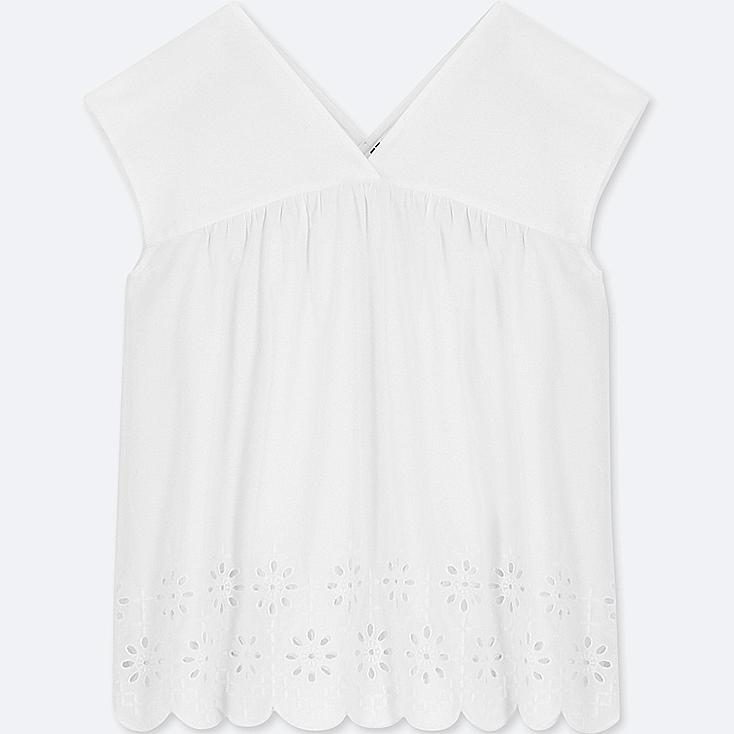 WOMEN COTTON EMBROIDERED SLEEVELESS BLOUSE, OFF WHITE, large