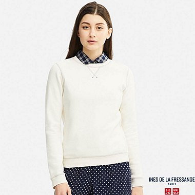 WOMEN IDLF FRENCH TERRY LONG-SLEEVE PULLOVER, OFF WHITE, medium