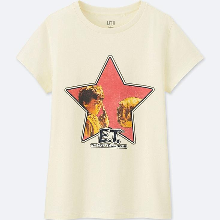 WOMEN Back to the 80's SHORT-SLEEVE GRAPHIC T-SHIRT (E.T.), OFF WHITE, large