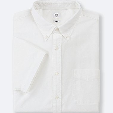 MEN OXFORD SLIM-FIT SHORT-SLEEVE SHIRT, OFF WHITE, medium