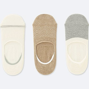 WOMEN LINE FOOTSIES (3 PAIRS), OFF WHITE, medium