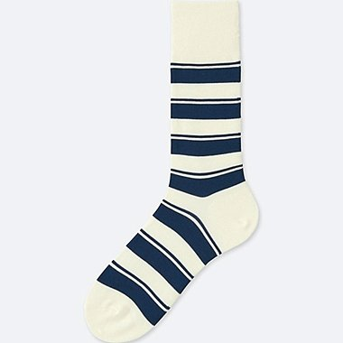 MEN STRIPED SOCKS, OFF WHITE, medium