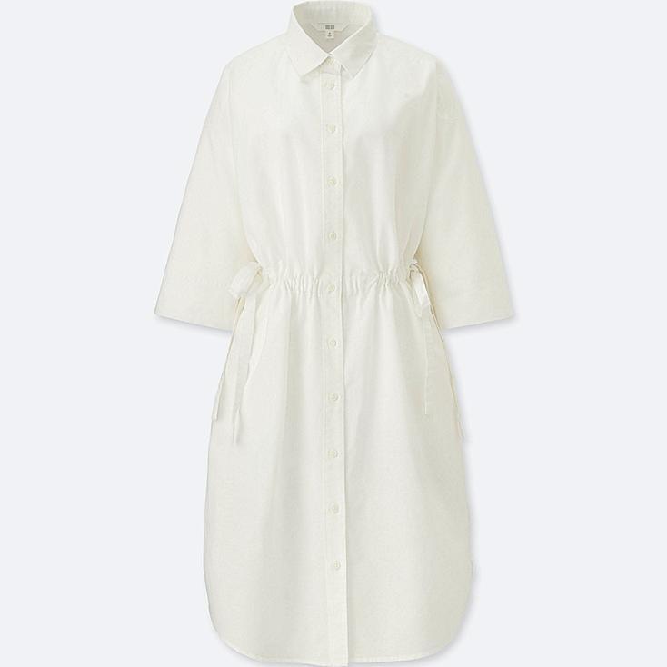 WOMEN Linen Blend 3/4 Sleeve Shirt Dress
