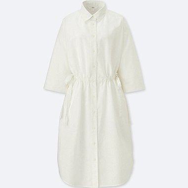 WOMEN LINEN BLEND 3/4 SLEEVED SHIRT DRESS