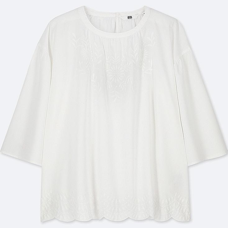 WOMEN COTTON EMBROIDERED 3/4 SLEEVE BLOUSE, OFF WHITE, large