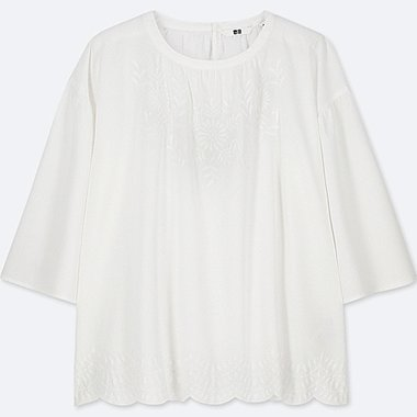 WOMEN COTTON EMBROIDERY 3/4 SLEEVE BLOUSE, OFF WHITE, medium