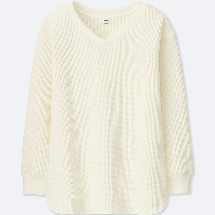WOMEN WAFFLE V-NECK LONG-SLEEVE T-SHIRT, OFF WHITE, large