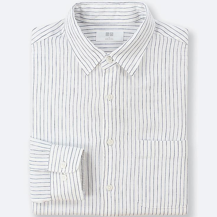 MEN PREMIUM LINEN STRIPED LONG-SLEEVE SHIRT | Tuggl