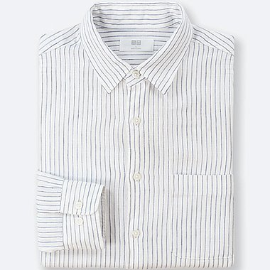 MEN PREMIUM LINEN STRIPED LONG-SLEEVE SHIRT, OFF WHITE, medium