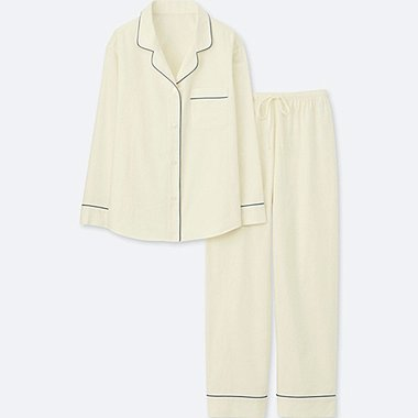 WOMEN LONG SLEEVE PAJAMAS WITH COTTON PIPING, OFF WHITE, medium